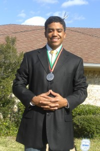 Cameron wearing Silver Medal